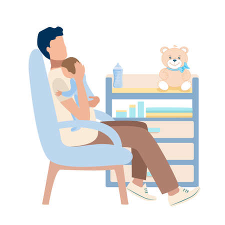 Happy young dad with a baby in his arms sits in a chair in the children's room. Happiness of fatherhood, father's day, happy childhood, vector illustration isolated on white background. 向量圖像
