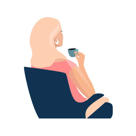 The girl sits in a chair and drinks coffee. Coffee time vector illustration in simple modern style isolated on white background