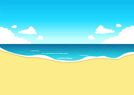 Vector illustration of a beautiful summer landscape with a panoramic view from the beach to the sea with an empty place for text