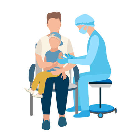 The nurse gives the vaccine with a syringe to the child who is sitting in the arms of the dad, who hugs and supports him. Stop epidemic vector illustration on abstract modern background