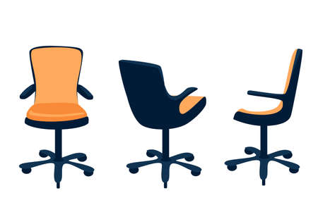 Vector set of office orange armchair in different angles in a simple modern style