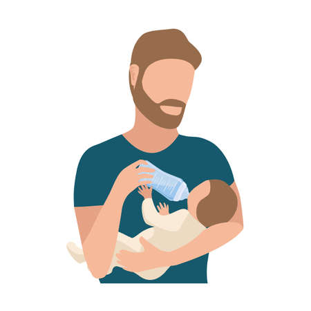 Happy young dad is bottle feeding the baby. Happiness of fatherhood, father's day, happy childhood, vector illustration isolated on white background. 向量圖像