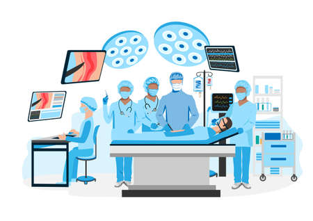 Surgical operation in the operating room. Medical equipment for surgical operations. Thanks to the doctors and nurses. Vector illustration isolated on a white background. 向量圖像