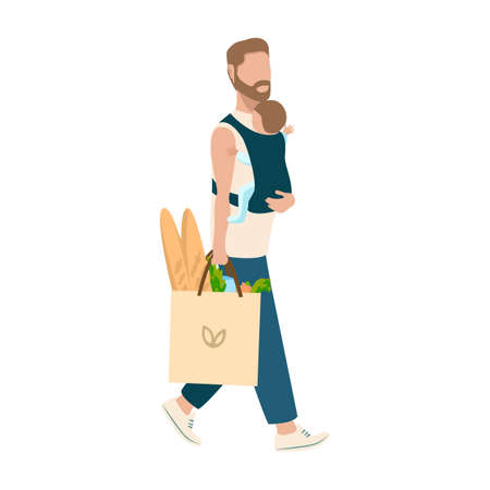 Happy young dad with a baby in his arms walks from the store with a package of groceries. Happiness of fatherhood, father's day, happy childhood, vector illustration isolated on white background.