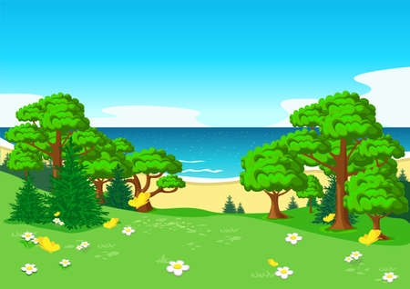 Vector illustration of a beautiful summer landscape with a panoramic view from a blooming mountain to the sea
