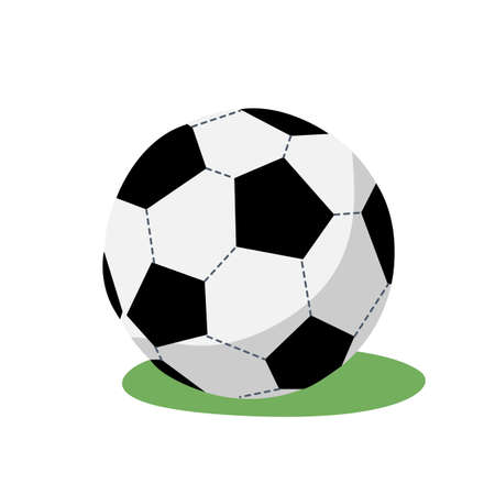 Vector illustration in simple flat style of a soccer ball lies on the grass 向量圖像
