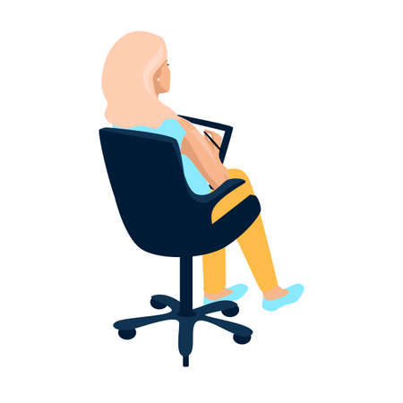 Vector illustration of a girl with blond hair sits in an office chair and makes notes, view from the back on a white background 向量圖像