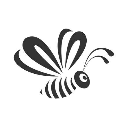 Vector slate of a stylized bee in a simple style for decoration or emblem. The bee flies in front