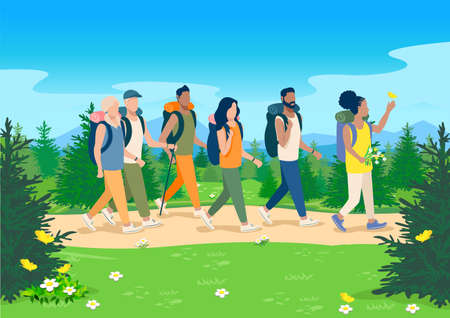 Vector illustration friends go hiking along a path through a forest flowering meadow against the backdrop of a beautiful landscape. Boys and girls travel and relax together. Active lifestyle.