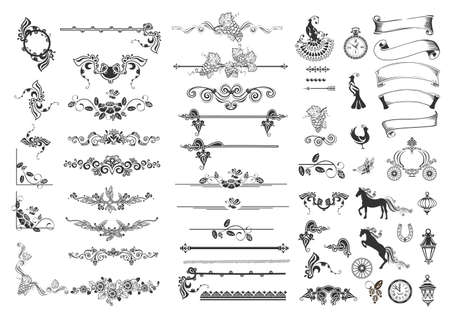 Big set of vintage ribbon, dividers, birds, horses, carriage, clocks, plants and design elements for decorating wedding cards, flyers, invitations, book pages and social network