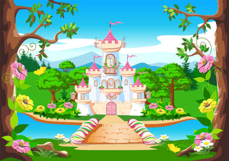 Fairy tale background with the castle of the beautiful princess. Castle with pink flags, precious hearts, roofs, towers and gates in a beautiful landscape. Vector illustration for a fairy tale.