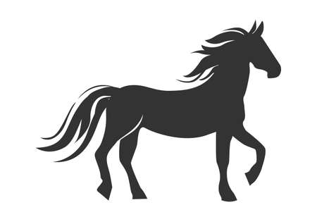 Vector slate of a stylized horse with a developing mane in a simple style for decoration or emblem.