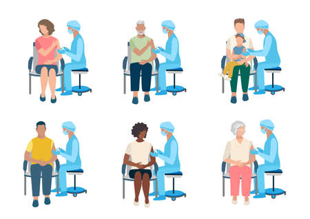 Vector set of a nurse with a syringe in her hand vaccinates people of different ages, race, gender. The elderly, adults and children will receive the vaccine. Stop the epidemic. Thanks to doctors and
