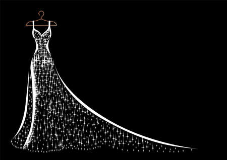 Hanging on a hanger is a beautiful lace and sparkly dress for wedding, evening or prom. Beauty and fashion. Background vector illustration template for invitation, flyer or card.