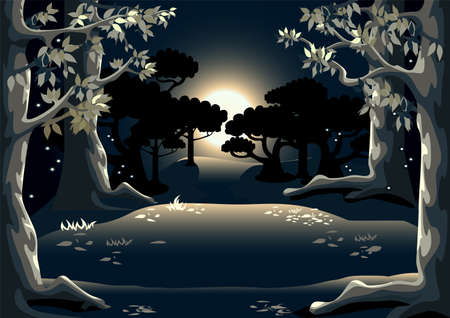 Vector background illustration of a magic forest at night with tall trees, fireflies, forest glade and moon. Fairy tale night landscape