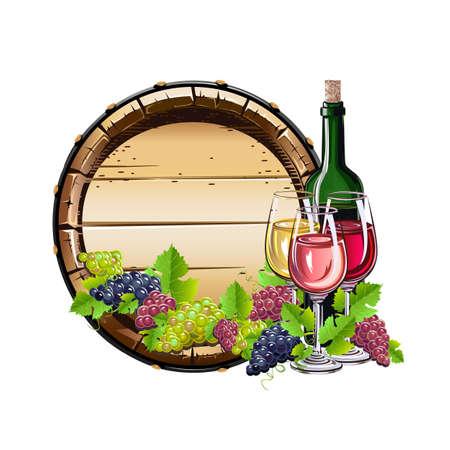Wine and grapes realistic vector still life for poster, invitation, menu or internet decoration. Autumn harvest and delicious food and drink. Vektoros illusztráció