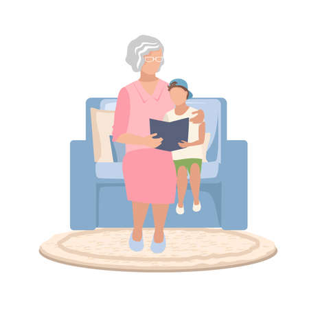Grandmother sits in an armchair and reads a fairy tale to her grandson or teaches him to read.