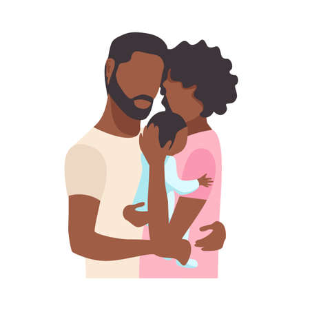 Black family couple tenderly and caringly hugging their newborn baby