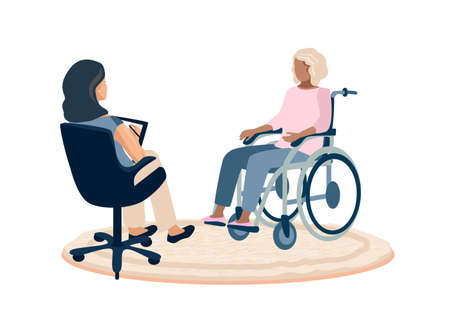 This disabled young girl in a wheelchair in the psychologist's office and talks about her experiences and problems.Rehabilitation and adaptation of people with disabilities vector illustration for car Vektorové ilustrace