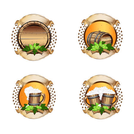 Set of beer labels with vintage ribbons in realistic style. A cask of beer, a glass and a bottle of beer with a hop and malt decoration. Festival of beer.