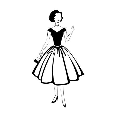 Beautiful and elegant girl in retro clothing silhouette. 1950 year. Vector illustration isolated on white background.