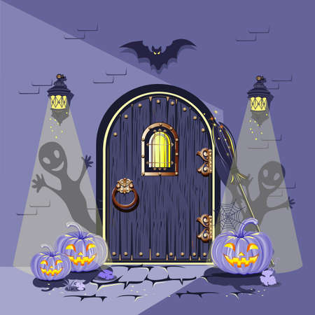The old wooden door is decorated for Halloween with funny pumpkins, bat, cobwebs and antique lanterns. Happy Halloween. Night scene. Bright vector illustration for postcard, congratulations, flyer or poster