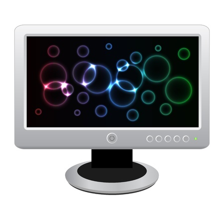 lcd display: White LCD monitor with bright neon display isolated on a white background. Vector illustration. eps10