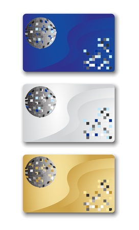 Abstract design of three business cards. Vector illustration, eps10.