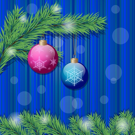 Background with two christmas balls and christmas tree branch. Vector eps10