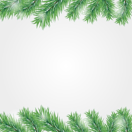 Vector frame with Christmas tree branch. eps10