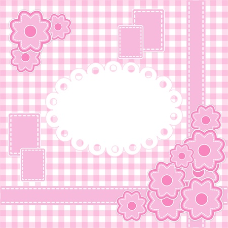 Baby girl card with stripes and flowers. Vector eps10