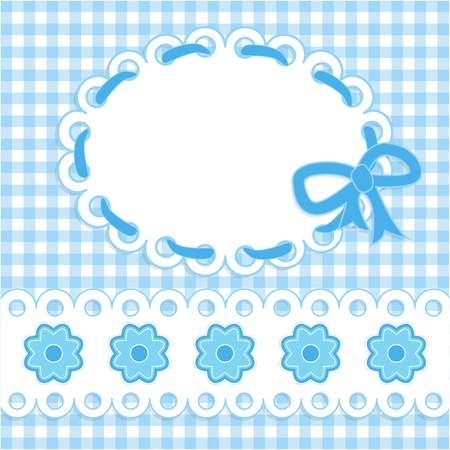 Baby card with blue stripes and flowers. Vector eps10