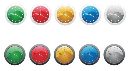 Set of colored clock icons isolated on a white background. Vector illustration.