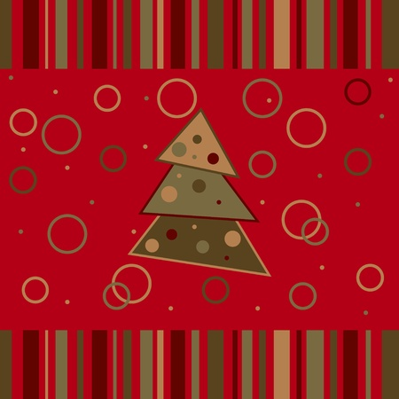 Christmas striped card. Vector illustration.