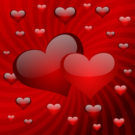 decorative card symbols: Two hearts on a red striped background. Vector illustration. eps10