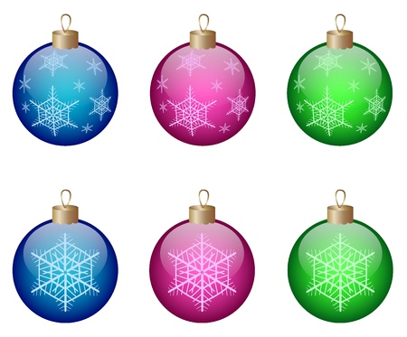 Colored christmas shiny balls isolated on a white background. Vector illustration. eps10 Illustration