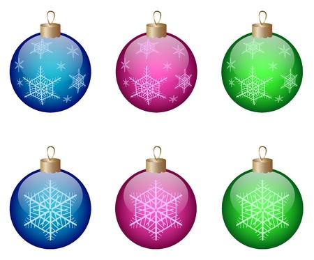 Colored christmas shiny balls isolated on a white background. Vector illustration. eps10 Illustration