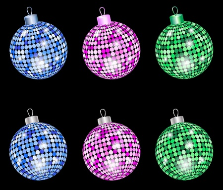 Colored christmas shiny balls isolated on a black background. Vector illustration. eps10
