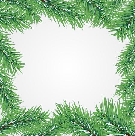 branche sapin noel: Cadre de Vector avec une branche d'arbre de No�l Illustration