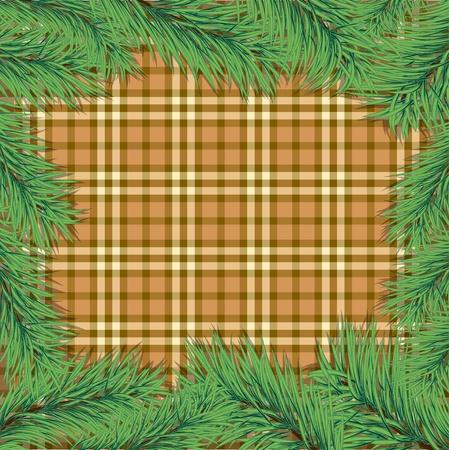 Scottish background with Christmas tree branch. Vector illustration. eps10 Illustration