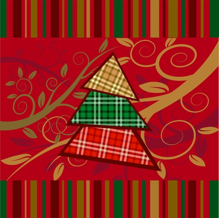 Christmas striped card with new year tree. Vector illustration.