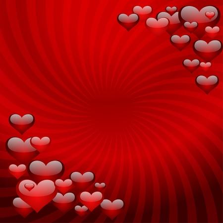 Herzen auf einem roten gestreiften Hintergrund. Vektor-Illustration. eps10