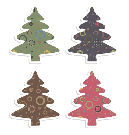 Set of vector retro new year trees.
