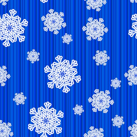 Winter seamless striped pattern with snowflakes. Vector illustration.