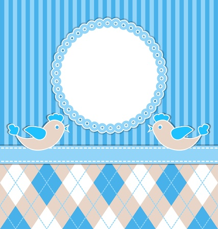 Baby  boy card with birds and blue stripes.