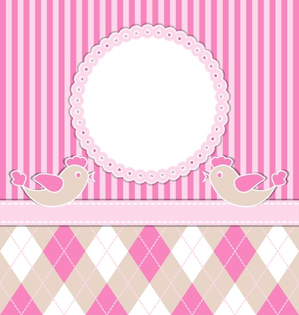 Baby girl card with birds and pink stripes. Illustration
