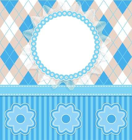 Baby boy card with flowers and blue stripes. Vector