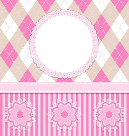 Baby girl card with flowers and pink stripes.
