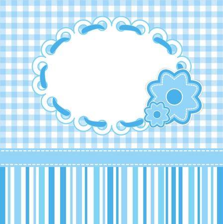 Baby-Karte mit blauen Streifen und Blumen. Vektorgrafik