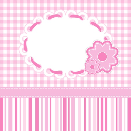 Baby girl card with stripes and flowers.